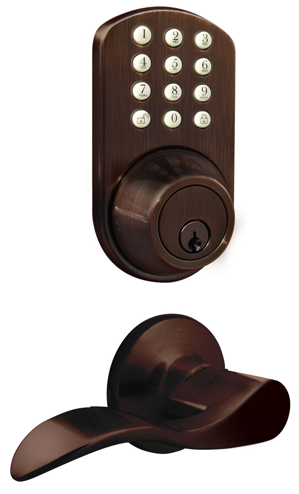 Milocks Tfl 02 Keyless Entry Deadbolt And Lever Handle Door Lock Combo Pack With Electronic