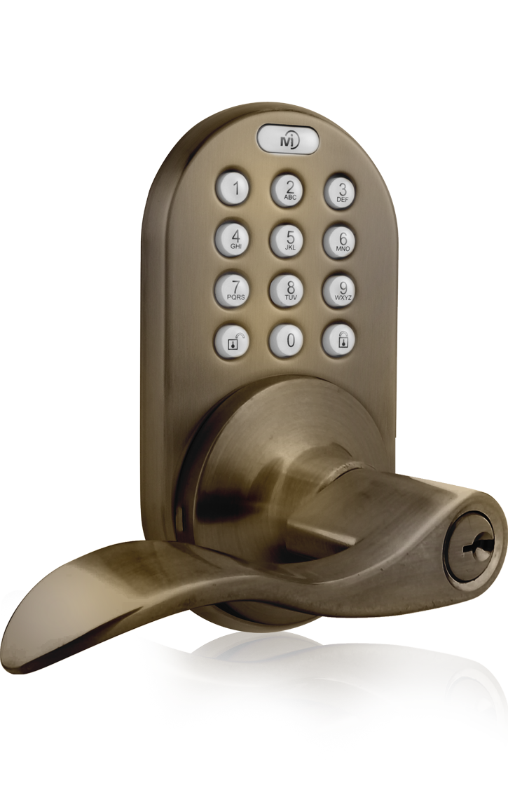 Keyless Entry Lever Handle Door Lock with RF Remote Control and Electronic Digital Keypad